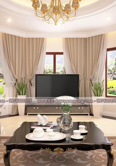 Mẫu thiết kế phòng khách cho biệt thự tân cổ điển đẹp, sang trọng