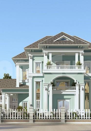 Thiết kế biệt thự 3 tầng tân cổ điển có bể bơi