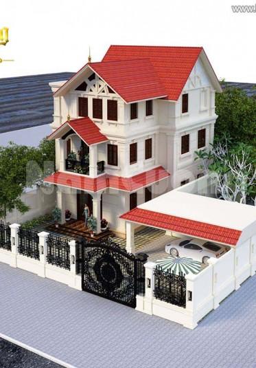 Thiết kế biệt thự tân cổ điển 3 tầng mặt tiền 10 m tại Hải Phòng - BTCD 003