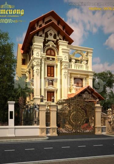 Thiết kế biệt thự Pháp tại Sài Gòn cao 3,5 tầng mặt tiền 10m - BTP 011