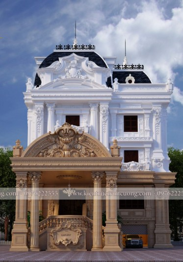 Mẫu thiết kế biệt thự 3 tầng cổ điển Pháp đẹp nhất 2019