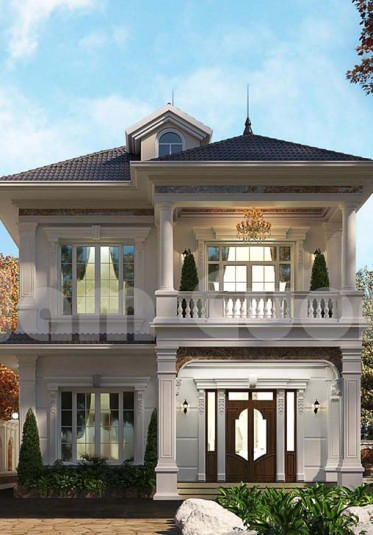 Mẫu biệt thự nhà vườn 2 tầng mái thái tại Hà Nội ấn tượng