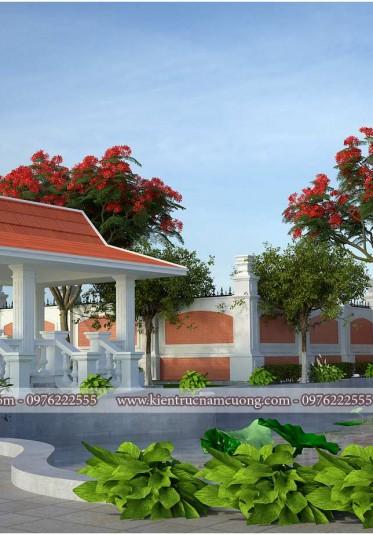 Thiết kế sân vườn tiểu cảnh biệt thự tân cổ điển tại Hải Phòng