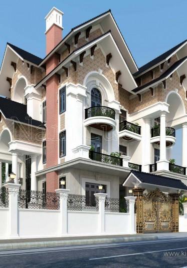 Thiết kế biệt thự 4 tầng  mái thái tân cổ điển ấn tượng