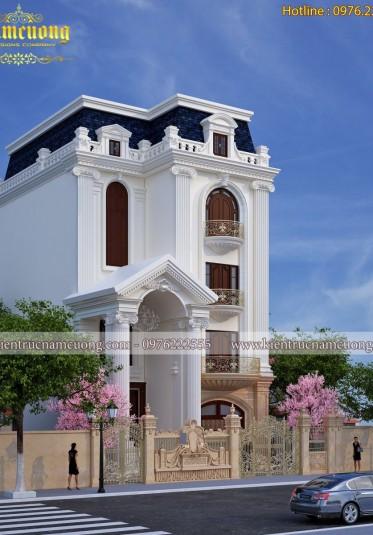 Thiết kế biệt thự phố mái mansard đẹp 4 tầng