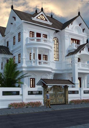 Mãn nhãn với mẫu thiết kế biệt thự tân cổ điển 3 tầng sang trọng tại Hà Nội - BTTCD 022