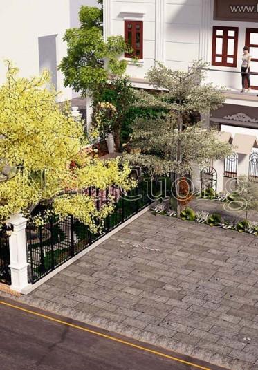 Mẫu tiểu cảnh sân vườn đẹp cho biệt thự tân cổ điển