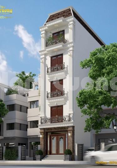 Thiết kế nhà đẹp- Nhà ống kiến trúc tân cổ điển 5 tầng