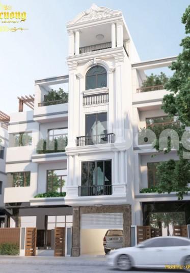 Thiết kế nhà đẹp tân cổ điển- nhà ống 5 tầng
