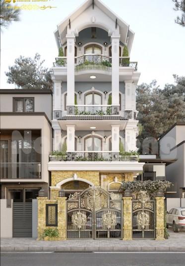 Mẫu thiết kế biệt thự phố kiến trúc Pháp 4 tầng
