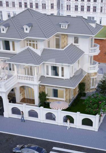 Mẫu thiết kế biệt thự mái thái 300m2 đẹp