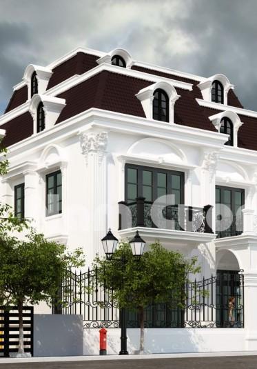 Biệt thự 2 tầng màu trắng phong cách tân cổ điển ấn tượng