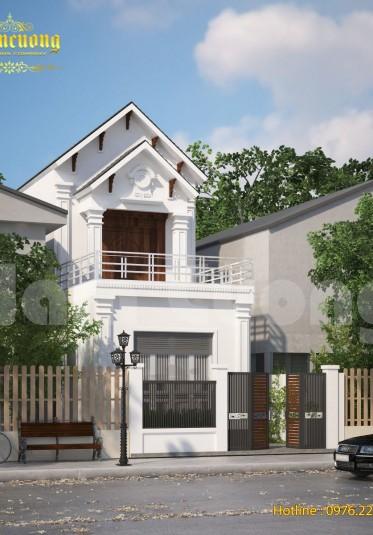 Mẫu thiết kế kiến trúc biệt thự tân cổ điển mini 2 tầng - BTTCD 038