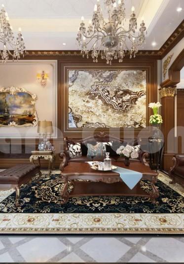Nội thất tân cổ điển- Nội thất khách bếp biệt thự tân cổ điển