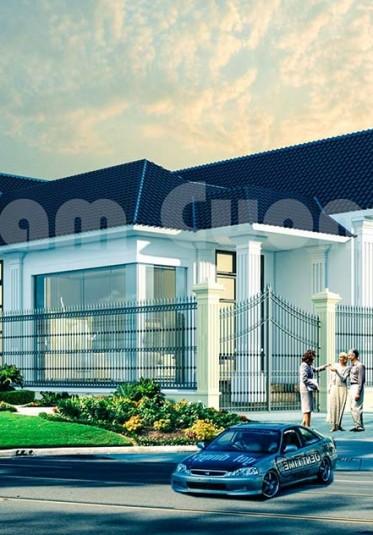 Thiết kế biệt thự vườn 1 tầng mái Thái đẹp