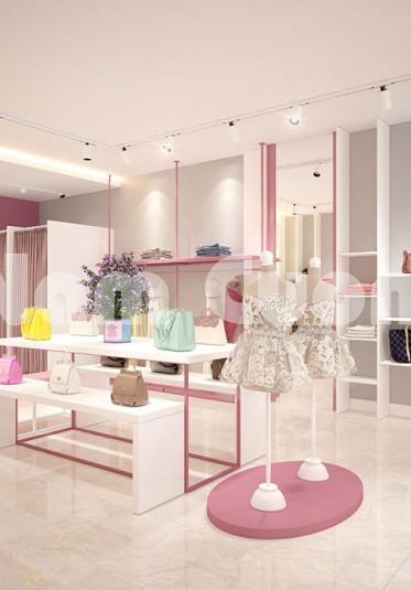 Thiết kế nội thất shop quần áo 2 tầng