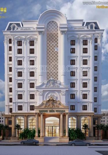 Thiết kế khách sạn 10 tầng kiến trúc Pháp đẹp tại Sài Gòn
