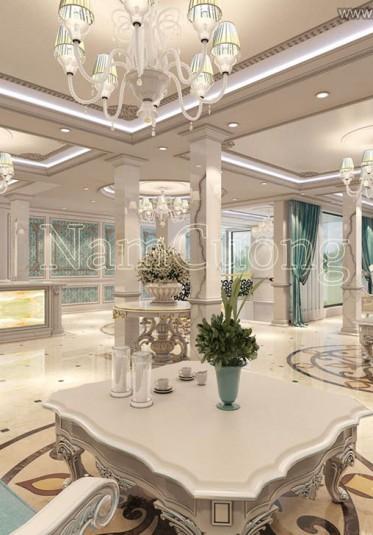 Thiết kế sảnh khách sạn cổ điển màu xanh pastel sang trọng tại Hải Phòng - SKSX 001