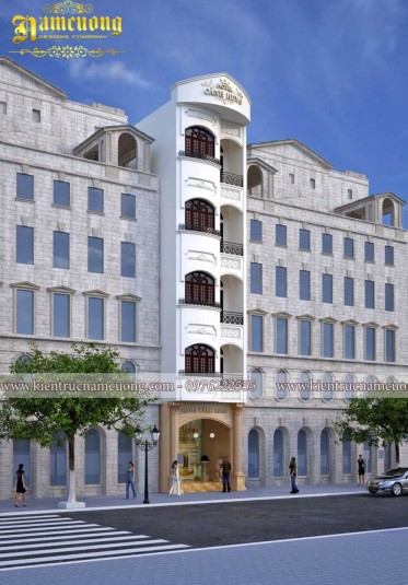 Mẫu thiết kế khách sạn tân cổ điển nội thất Pháp sang trọng - KSCD 011