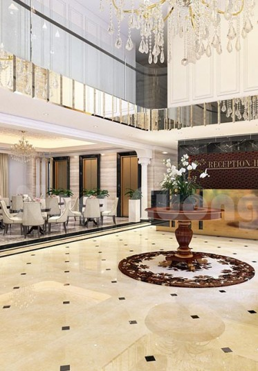 Thiết kế sảnh khách sạn 3 sao độc đáo cho đất dài và hẹp