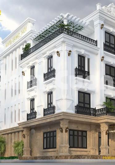 Thiết kế khách sạn tân cổ điển 4 tầng 2 mặt tiền