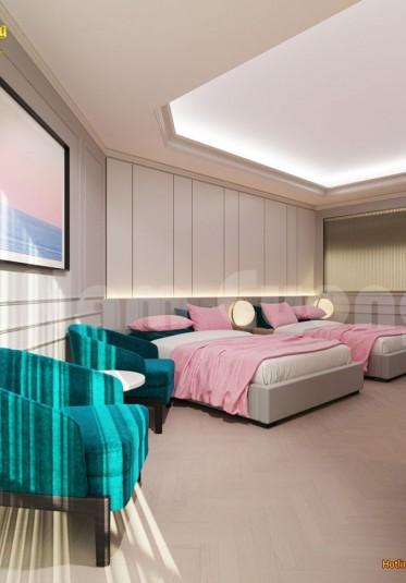 Thiết kế nội thất phòng ngủ khách sạn màu sắc