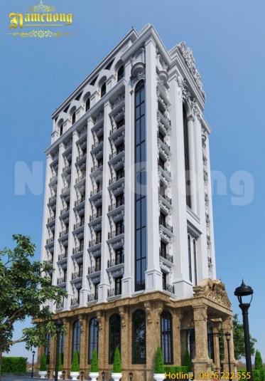 Thiết kế khách sạn 3 sao đẹp 11 tầng phong cách tân cổ điển