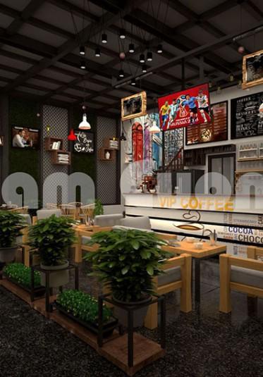 Mẫu thiết kế quán cà phê đơn giản và ấn tượng