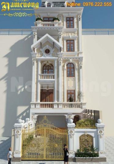 Mẫu thiết kế nhà phố 5 tầng mặt tiền 6m sang trọng