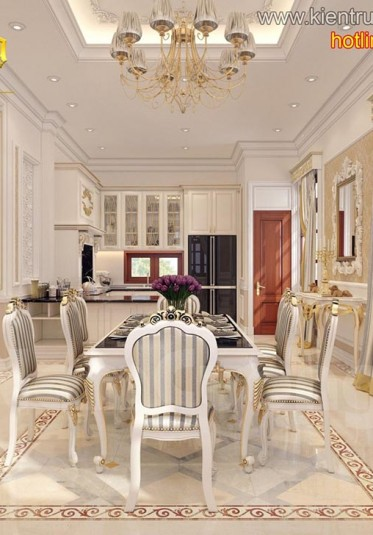 Thiết kế nội thất phòng bếp tân cổ điển đẹp tại Hải Phòng - NTBTCD 014