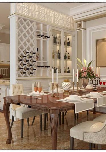 Thiết kế nội thất phòng ăn tân cổ điển đẹp tại Quảng Ninh - NTNTCD 016
