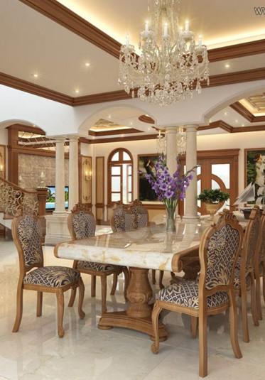 Thiết kế nội thất phòng ăn tân cổ điển ấn tượng tại Quảng Ninh - NTBTCD 026