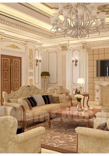 Thiết kế nội thất phòng khách tân cổ điển cho biệt thự Pháp tại Sài Gòn - NTKTCD 010