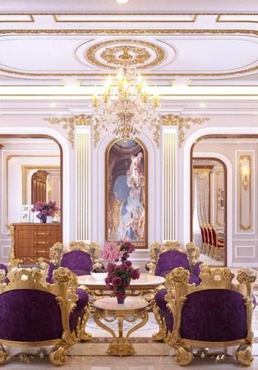 Thiết kế nội thất phòng khách tân cổ điển ấn tượng tại Sài Gòn - NTKTCD 011