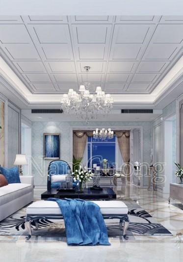 Thiết kế nội thất phòng khách cổ điển gam màu xanh ấn tượng - NTPKX 002