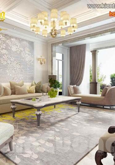 Nội thất phòng khách sang trọng cho biệt thự tân cổ điển đẹp