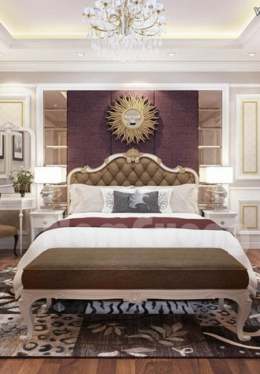 Sang trọng, tinh tế với mẫu nội thất cho phòng ngủ tân cổ điển tại Quảng Ninh - PNCD 063