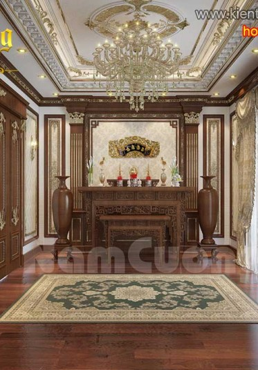 Thiết kế nội thất phòng thờ biệt thự tân cổ điển - NTTCD 005