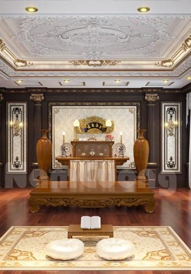 Thiết kế phòng thờ gia đình đẹp phù hợp theo phong thủy - PTCD 002