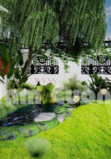 Mẫu thiết kế tiểu cảnh sân vườn đẹp trong biệt thự