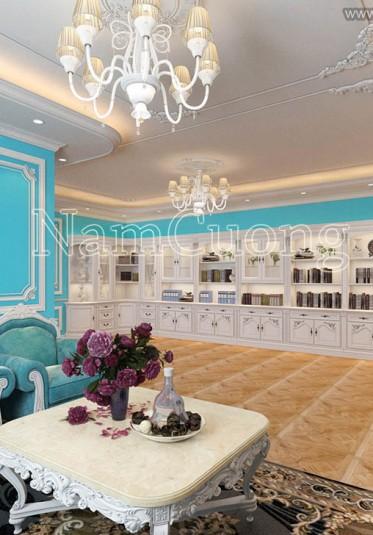 Độc đáo không gian nội thất biệt thự màu xanh