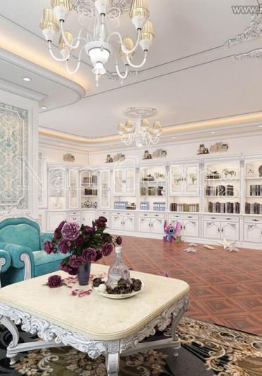 Thiết kế phòng sinh hoạt chung biệt thự cổ điển tại Sài Gòn - NTBTCD 032
