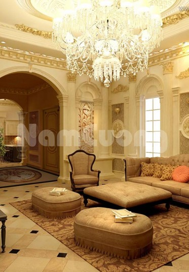 Thiết kế nội thất phòng khách Pháp tại Sài Gòn ấn tượng - NTKP 005