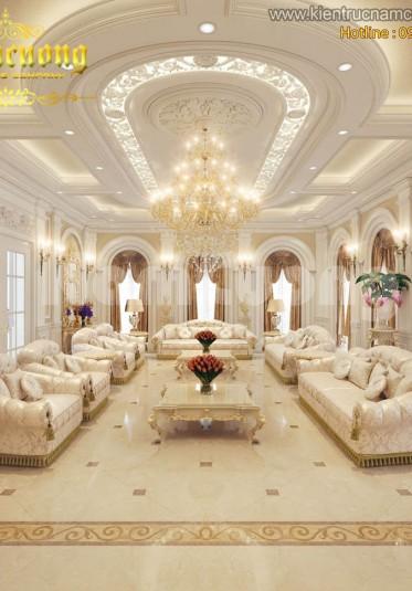 Thiết kế nội thất phòng khách biệt thự Pháp cổ- PKP 001