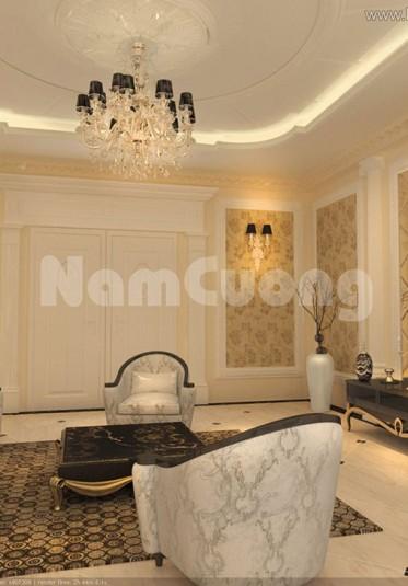 Thiết kế phòng khách nội thất tân cổ điển tại Sài Gòn - NTPKCD 012