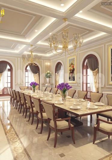 Những mẫu thiết kế nội thất phòng ăn cổ điển Pháp đẹp cho khách sạn