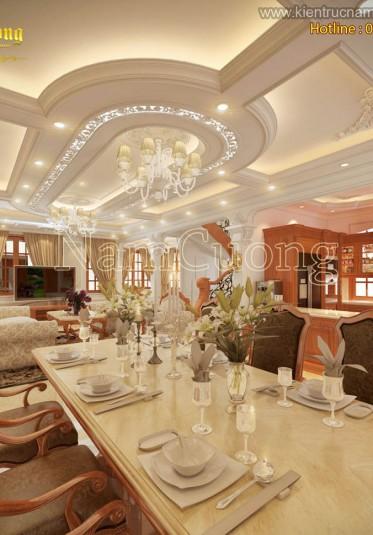 Mẫu thiết kế phòng khách bếp đẹp biệt thự cổ điển - NTKBCD 054