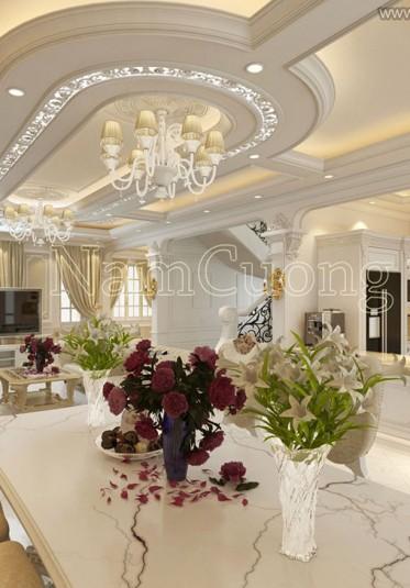Mẫu phòng khách bếp sang trọng cho biệt thự tân cổ điển - NTKBCD 056
