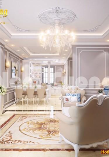 Thiết kế nội thất phòng khách-bếp cho nhà tân cổ điển