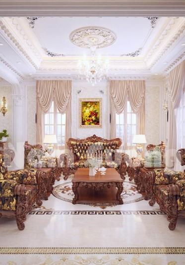 Thiết kế nội thất phòng khách bếp cho lâu đài Pháp tại Bắc Ninh-NTKBCD 059